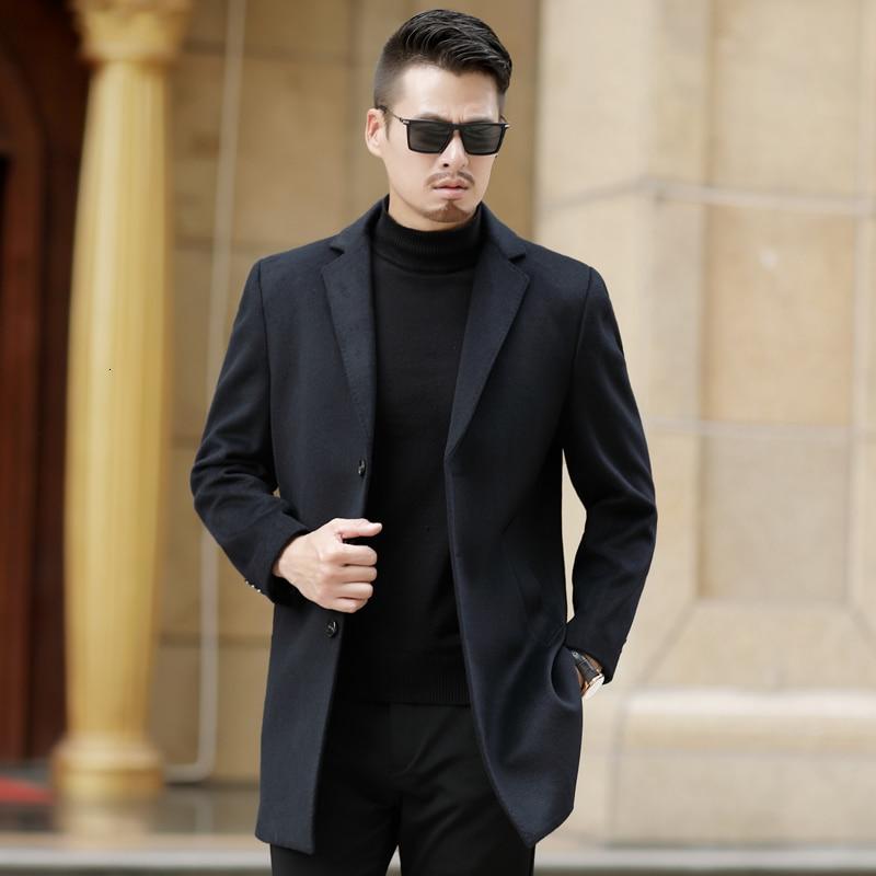Winter Wool Coat (man) Long Leisure Belt Wool Coat (man) Pure Leisure Men's Fashion / Leisure Coat (overcoat)
