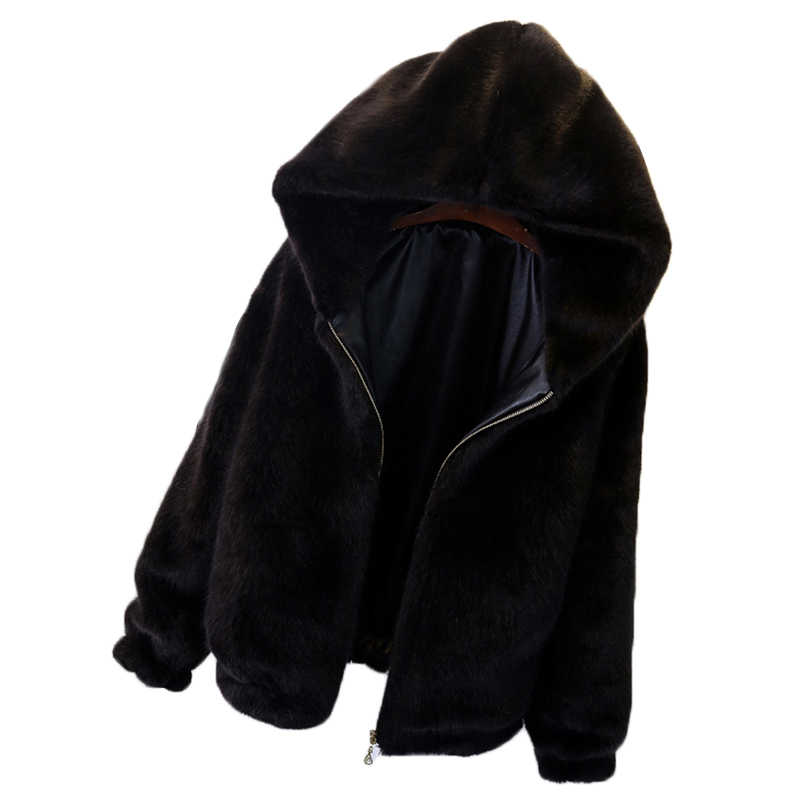Korean Plush Hooded Jacket Female Autumn Short Fur Coat Imitation Fur Rabbit Women Autumn Winter Fur Jacket Woman