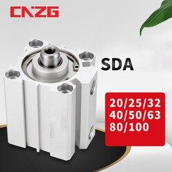 Cylindre pneumatique à ressort Compact, Type SDA 16 20 25 32 40 50 63mm alésage de 5 10 15 20 25 30 35 40 45 50mm