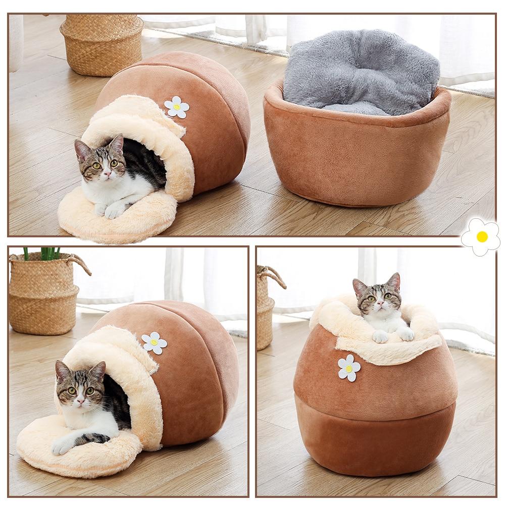 Кровать для домашних животных 3 в 1, мягкая подстилка для кошек и собак, домик в форме горшка, домик для сна, подстилка, палатка, удобная кроват...