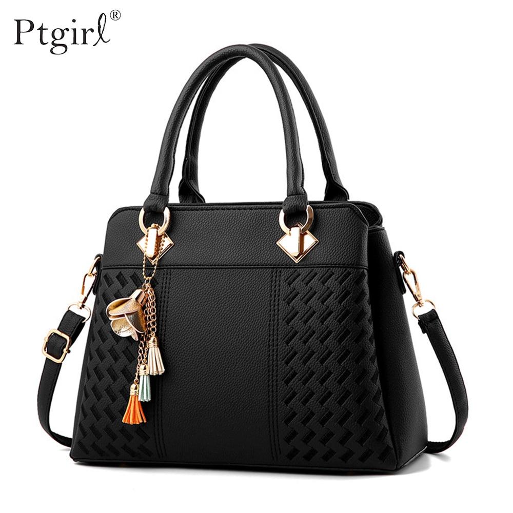 Fashion Women Handbags Tassel PU Leather Totes Bag Top-handle Embroidery Crossbody Shoulder Bag Ptgirl Simple Style Hand Bags
