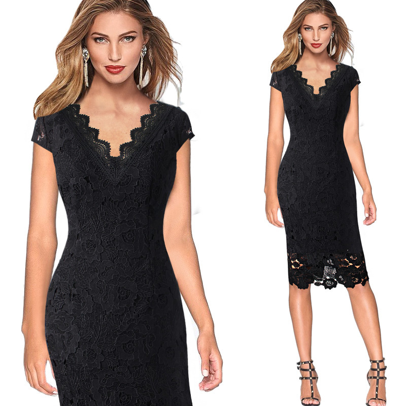 V Neck Black   Cocktail     Dresses   Lace Knee Length Party   Dress   Elegant Women Lady Event Gown robe   cocktail   vestidos de coctel