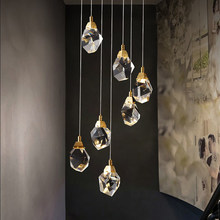 Luxury Diamond Crystal Chandelier for Staircase Large Living Room Hall Chandeliers Lighting Gold Home Deocr Led Cristal Lamps