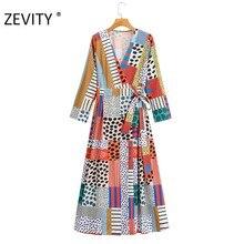 ZEVITY-vestido midi vintage con dibujo de lunares para mujer, vestido elegante con lazo de color contrastante DS4422