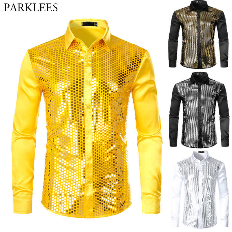 Men's Sliver Sequin Silk Satin Shirt Long Sleeve Button Down Shiny Disco Party Shirts Slim Fit Stage Dance Men Prom Shirt White