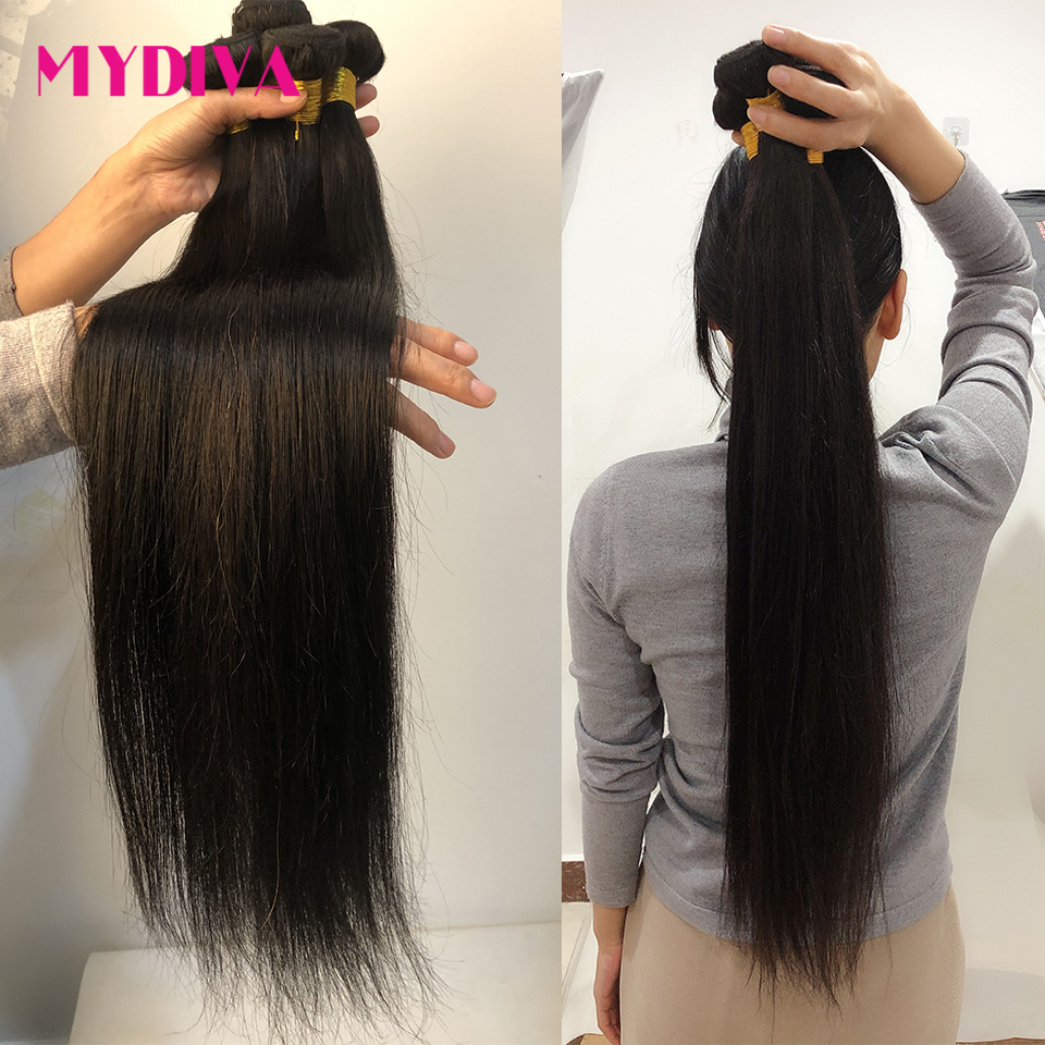 8-34 36 38 40 Inch Peruvian Hair Weave Bundles Straight 100% Human Hair 3/4 Bundles Natural Color Remy Hair Extensions Mydiva