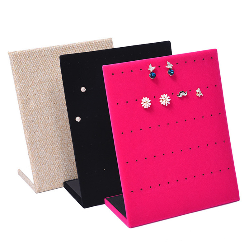 Jewelry Frame Red Black Beige Velvet Earrings Holder Earring Display Stand Jewelry Display Shelf Show Case Organizer Tray