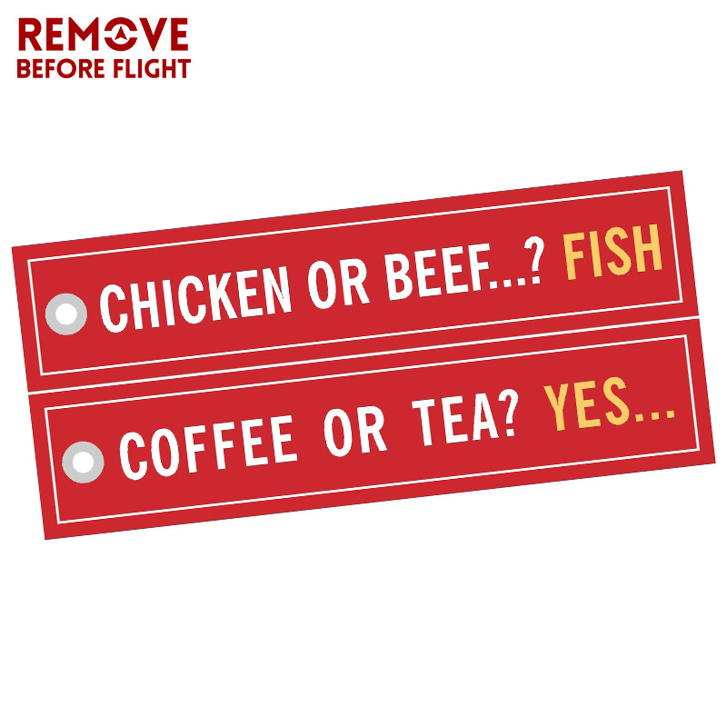 3 PCS/LOT Coffee Or Tea YES Keychains For Cars Embroidery Chicken Or Beef Fish Key Chain Bijoux Porte Clef Aviation Key Chains