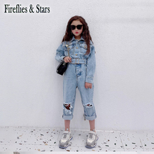 Spring Autumn Girls Denim Overall Baby One Piece Kids Jumpsuits Children Streetwear Clothes Ripped Hole Waistbelt 3 To 14 Yrs