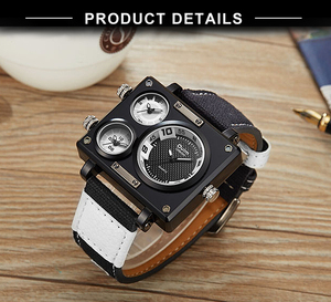 Image 5 - OULM שעון גברים למעלה מותג יוקרה קוורץ שעון יצירתי מזדמן ספורט שעונים ניילון רצועת זכר שעוני יד עמיד למים הנמכר ביותר