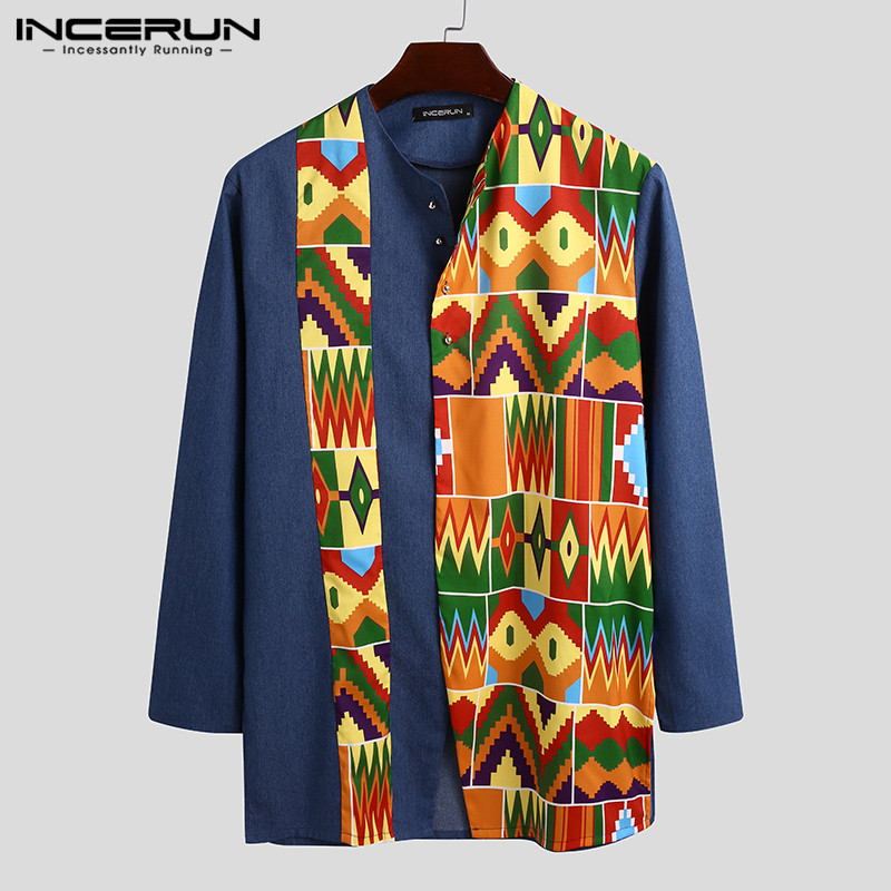 2020 Ethnic Style Men Shirt Print Patchwork Streetwear Long Sleeve Button Casual Dashiki African Shirts Fashion Camisas INCERUN