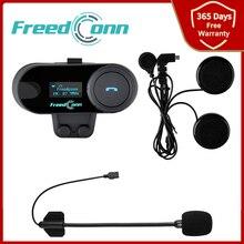 Freedconn TCOM SC Bluetooth Gegensprechanlage Motorradhelm Headset BT Gegensprechanlage OLED Display FM Radio HD Stereo Kopfhörer 2021 NEU