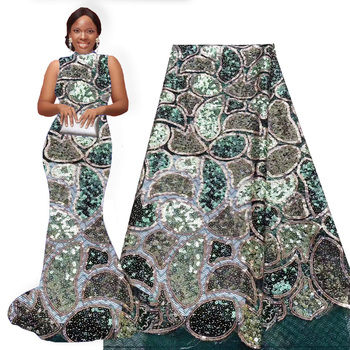 Tik Green Sequin Lace 5yards a peice Nigerian Lace Fabric Lace 2019 High Quality Glitter Lace for Dress