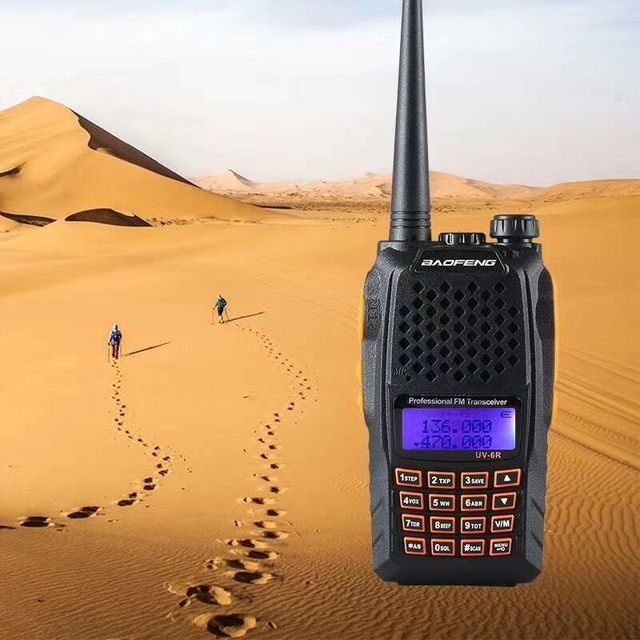 100% オリジナル baofeng UV 6R デュアルバンド、デュアルディスプレイ双方向ラジオハムトランシーバー uv 6r walky トーキートランシーバ