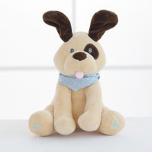 Children Peekaboo Puppies Licking Eyes Puppies Singing Music Puppy Plush Toys Electric Plush Toys Noval Gifts baby touch peekaboo