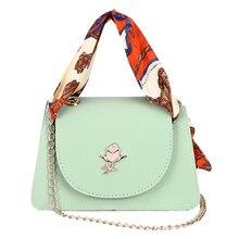 New Women's Bag 2019 Fashion Joker One Shoulder Messenger Bag Korean Bag Women's Famous Luxury Brand Scarf Chain Tote недорого