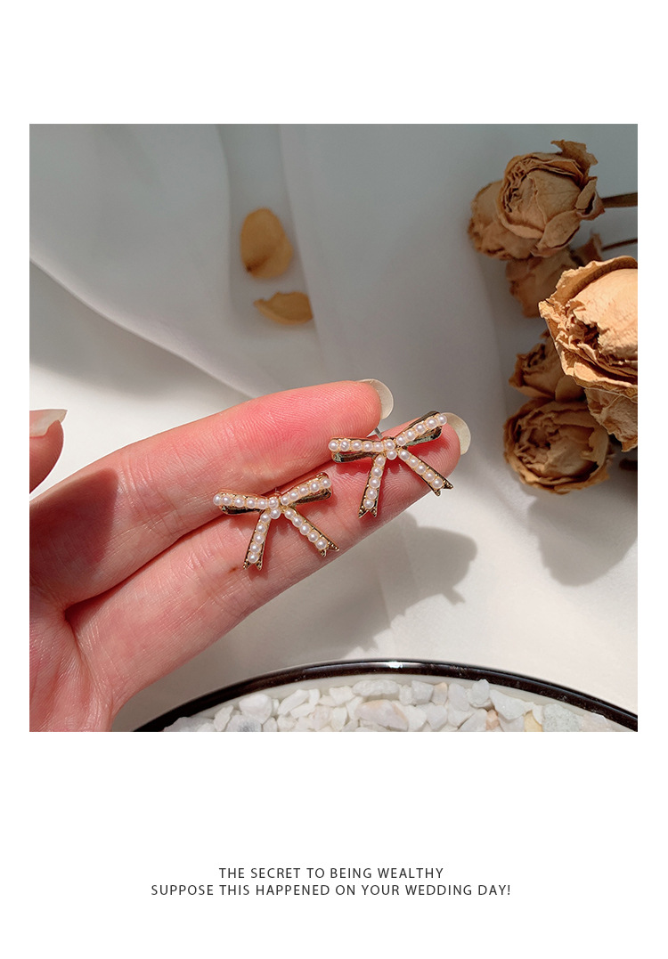 925 silver needle pearl bow earrings female cute girl exquisite fashion elegant banquet birthday gift shiny Korean hot products in Stud Earrings from Jewelry Accessories
