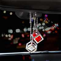 Car Pendant Cube Crystal Decoration Hanging Ornament Charms Automobile Internal Rearview Mirror Suspension Trim Accessories Gift