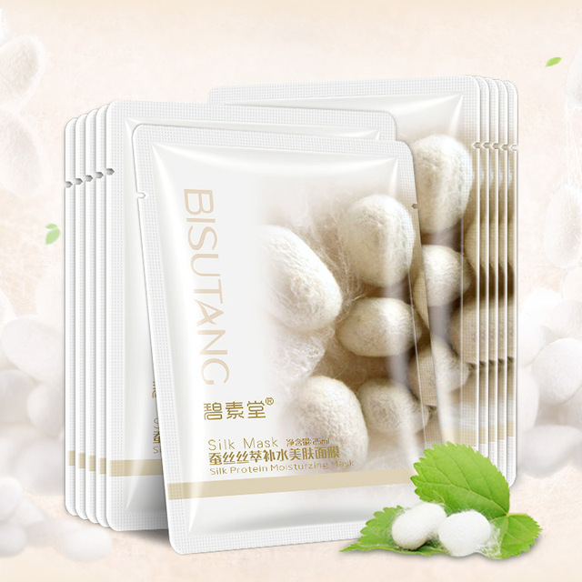genuine silk extraction moisturizing mask smooth skin care elastic moist tender plump silky smooth mask face leather sheets 2
