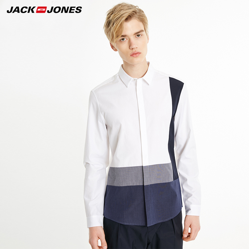 MLMR Men's Pure Cotton Stitching Color Casual Shirt |219105538