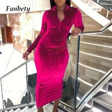 Elegant Velvet Solid Long Sleeve Party Dress Women Sexy Slim Fit V Neck Autumn Midi Dress Fashion Solid Long Sleeve Dress Mujer