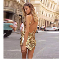 New Fashion Sleeveless Gold Sequin Metal Dress Women Sexy Backless Christmas Party Dress Evening Mini V Neck Vestidos Summer
