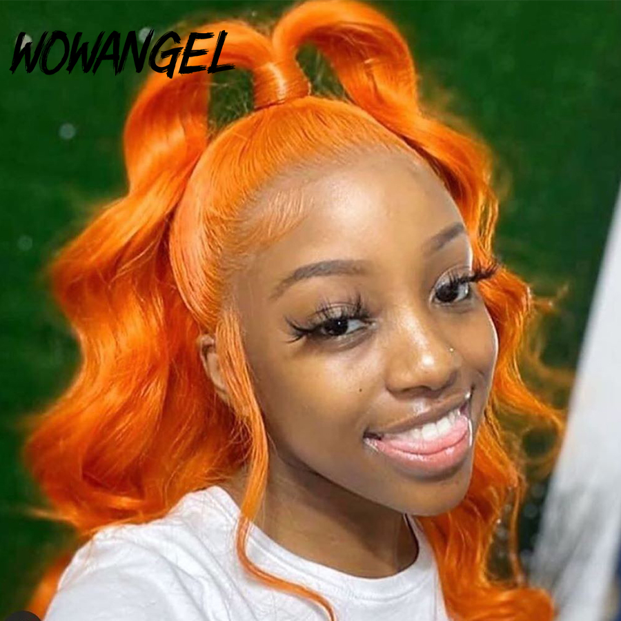 Wowangel 13X6 Brazilian Body Wave Human Hair Wigs With Baby Hair 150% Orange Ginger Colored Remy Long Human Wig Pre Plucked
