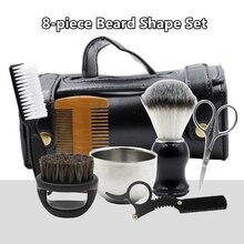 8pcs Beard Grooming Kit Mustache Scissors Straight Razor Shaping Shave Brush Tools Trimming Shaving Brush Comb Beard Set G0613