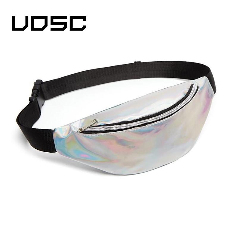 UOSC 2019 New Holographic Waist Bag For Women Pink Gold Black Laser Fanny Pack Belt Bag Ladies Bum Bag Unisex Banana Bags