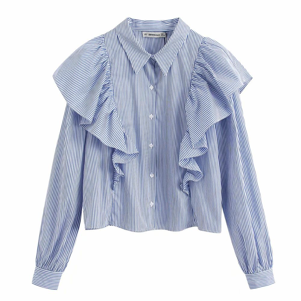 2020 New Women Pleated Ruffles Striped Casual Smock Blouse Office Lady Wear Business Shirts Chic Chemise Femininas Tops LS6363