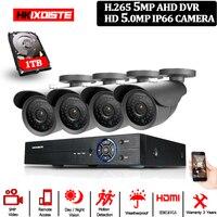 H.265 Surveillance System CCTV DVR 4CH 5MP 4 Pcs Full HD 5MP 36 pcs IR CUT LEDs Array Camera night Vision Kit SONY Sensor Bullet