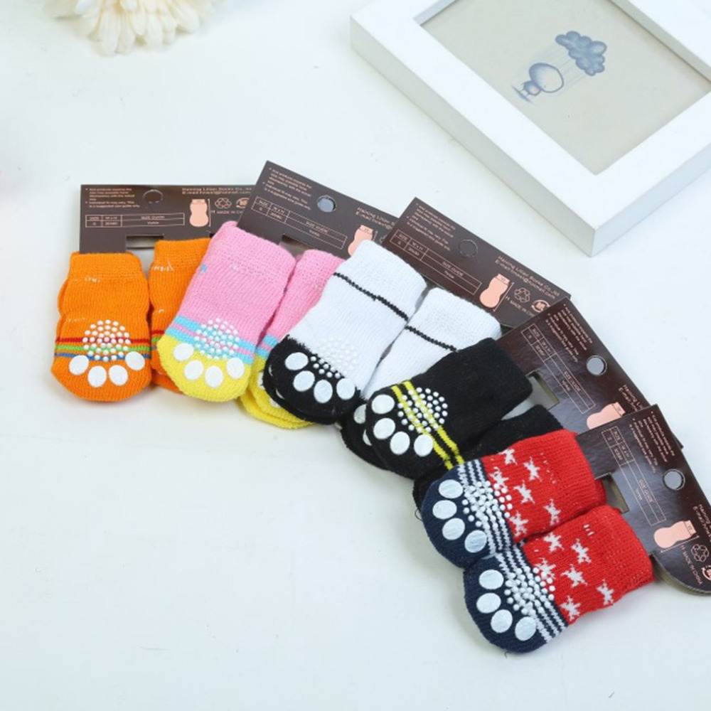 Fashion Cartoon Cute Pet Socks Soft Comfortable Cotton Knits Socks Shoes Anti-slip Socks For Dogs Thick Warm Boot Socks  S/ M /L