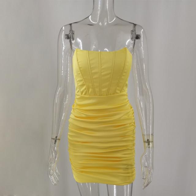 SRUBY Satin Sexy Dress Women Off Shoulder Anti Slip Bodycon Backless Strappy Dress Mini Sundress  Zipper Summer Dress Vestidos 6