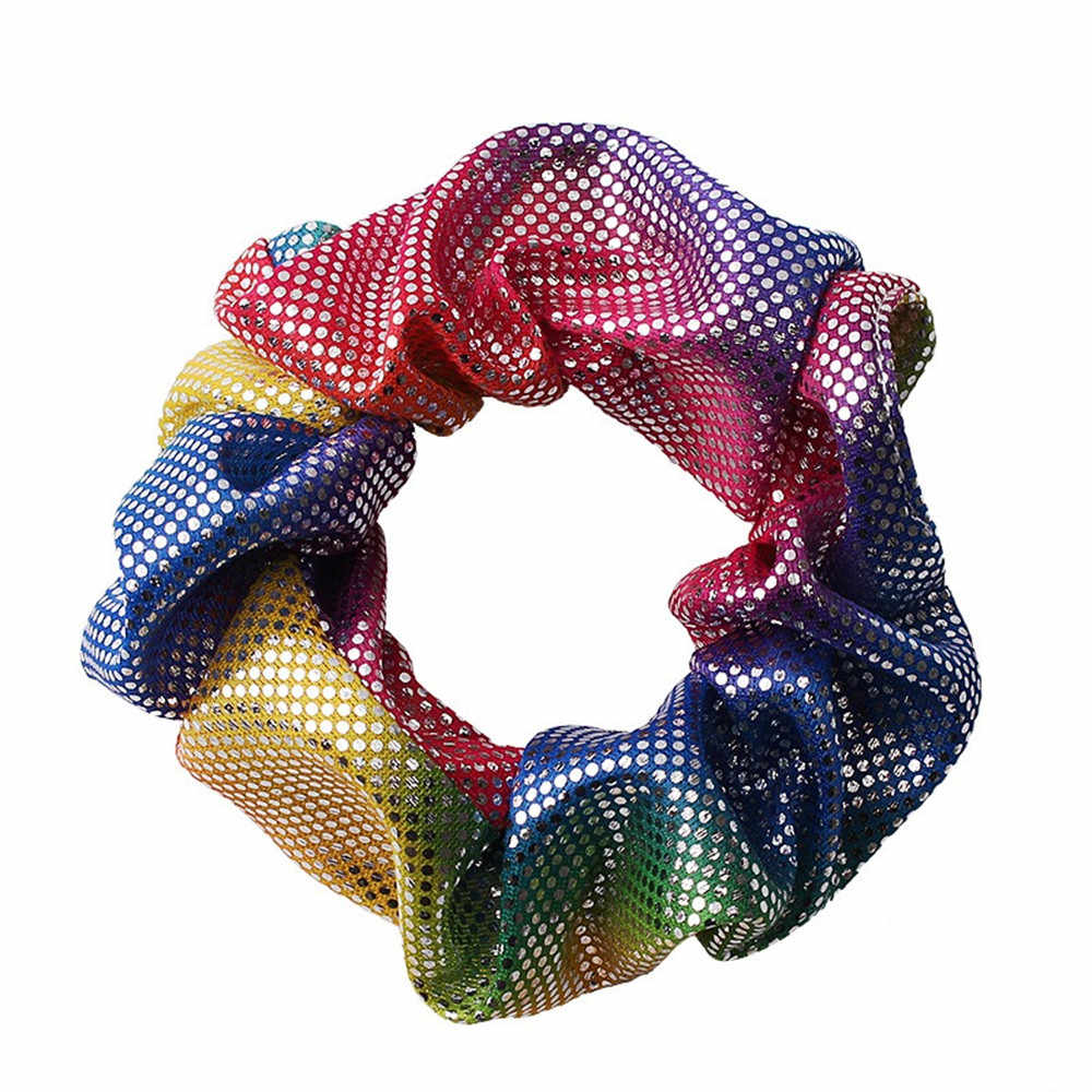 Bronzing Rainbow Scrunchies Wanita Wanita Gadis Elastis Rambut Karet Gelang Wanita Rambut Aksesoris