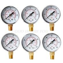 Face-Pressure-Gauge Liquid Water-Fuel BSPT 40mm Bar for Air-Gas Bottom-Mount 15-30 160-200