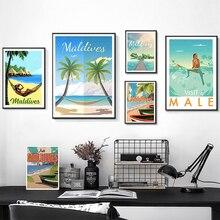 Arte Pop de las islas tropicales de Maldivas, pinturas de lona de viaje, pósteres de Kraft Vintage, pegatinas de pared recubiertas, decoración del hogar, regalo familiar
