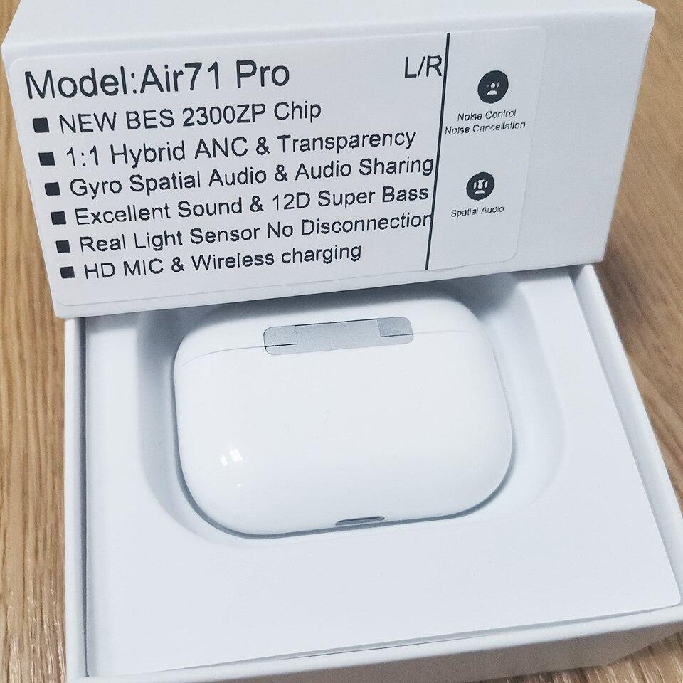 Супер 1:1 Air21 Air51 Air61 Air71 Pro Наушники-вкладыши TWS с Беспроводной наушники 45DB Гибридный ANC Bluetooth наушники пространственной аудио 1562T BES 2300 чип