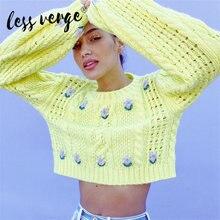 Женский винтажный пуловер с вышивкой lessverge повседневный