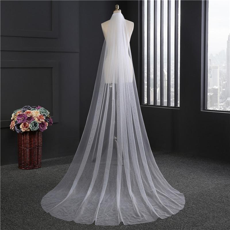 Long Wedding Veil Double Layer Soft Tulle Cathedral Chapel Floor Veils With Hair Side Comb For Bride Wedding Accessories