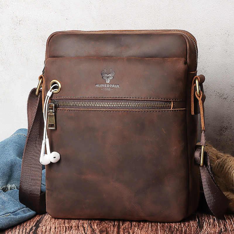 GZCZ جديد مجنون الحصان جلد الرجال حقيبة كتف Vintage حقيبة ساع الرجال Bolsos الذكور Crossbody حقائب رجل حقيبة يد لباد