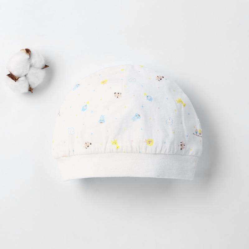 Детская шапка для 0-12 месяцев, хлопок, унисекс, мягкая милая детская шапка, шапка для новорожденных мальчиков и девочек на все сезоны, Мультяшные Шапки для малышей - Цвет: Небесно-голубой