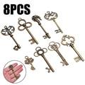 8 шт., большие винтажные ключи-скелеты в античном стиле