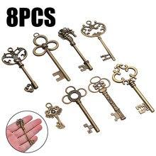 8 pçs grandes chaves de esqueleto do vintage antigo bronze chaves pingente retro colar decoração fantasia diy jóias colar artesanato presentes