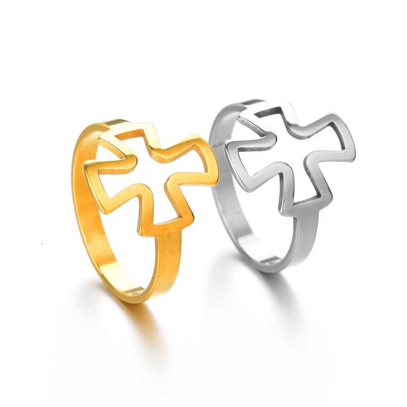สแตนเลสสตีล Hollow แหวนคลาสสิกที่ดีที่สุดเพื่อนคู่แหวนผู้หญิงผู้ชายเกาหลีเรขาคณิตเครื่องประดับ Drop Shipping