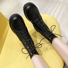 2020 New Fall Winter Martin Boots Women Black Leather Motorcycle Cowboy Platform Boots Punk Combat Ankle Boots Women Shoes(China)