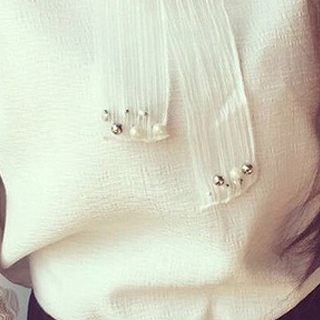 Women Style Bow Of Pearl White  Casual Chiffon Shirt Blouses Tops Tee Rk 5