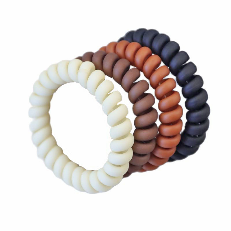 Wholesale  100 Pcs Coffee Cream Frosted  Elastic Rubber Bands Telephone Wire Hair Ties Ponytail Spiral Scrunchies  Accessories