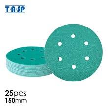 """TASP 25Pcsอุตสาหกรรม 150Mm 6 """"ฟิล์มกระดาษทรายแผ่นขัดเครื่องมือขัดAnti Clog Wet & Dry Hook & Loop Backing Grits 60 ~ 400"""