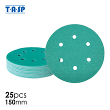 """TASP 25pcs תעשייתי 150mm 6 """"סרט נייר זכוכית מלטש דיסק שוחקים כלים אנטי לסתום רטוב & יבש וו גיבוי Loop גריסים 60 ~ 400"""