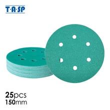"TASP 25pcs Industrial 150mm 6"" Film Sandpaper Sanding Disc Abrasive Tools Anti Clog Wet & Dry Hook & Loop Backing Grits 60~400"